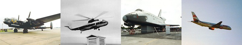 left to right - Lancaster Bomber, Sikorsky SR61N Helicopter, plywood Space Shuttle replica, Boeing 757
