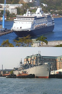 top - cruise liner in the Caribbean, bottom - Liberty Ship in Boston Harbor