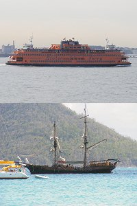top - Staten Island Ferry, bottom - Brig in the Caribbean