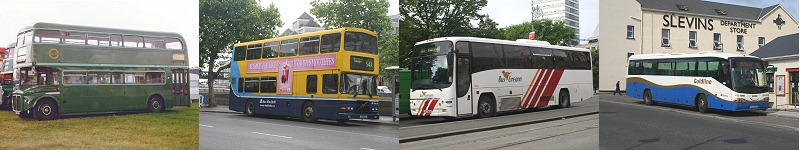 left to right - London Transport Country Area RCL, Dublin Bus type RV, Bus Eireann coach type VP, Ulsterbus Goldline coach